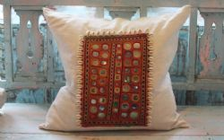 Large Square Vintage Linen Cushion with Indian Embroidered Textile decorated with Cowrie Shells